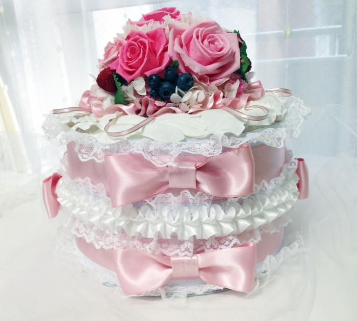 ダイパー(オムツ)ケーキ/ピンク